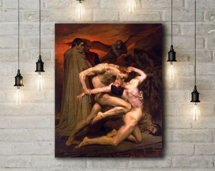 William-Adolphe Bouguereau: Dante and Virgil in Hell. Fine Art Canvas.